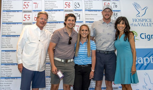 Winning amateurs Michael Ressa, Bethany Persch and Joe Solien with tournament chair Jay Hoselton and Lin Sue Cooney